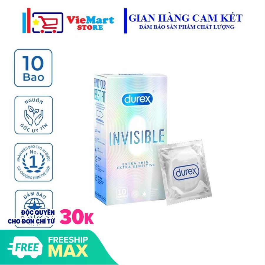 [HCM]Bao cao su Durex Invisible Extra Sensitive 10 bao / hộp