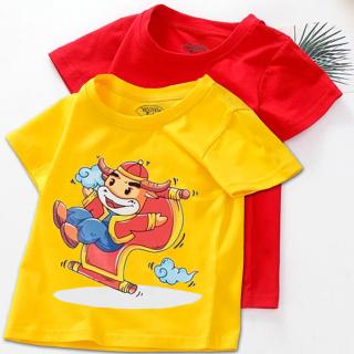 Combo 2 Áo tết cho bé trai, bé gái (6kg - 28kg) đồ tết cho bé trai, bé gái 2021 quần áo trẻ em tết Tân Sửu áo thun tết FOF thumbnail
