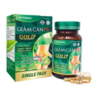 Giảm cân PV Gold - 60 viên - hỗ trợ tăng cường chuyển hoá chất béo, giảm mỡ máu, giảm cân thumbnail