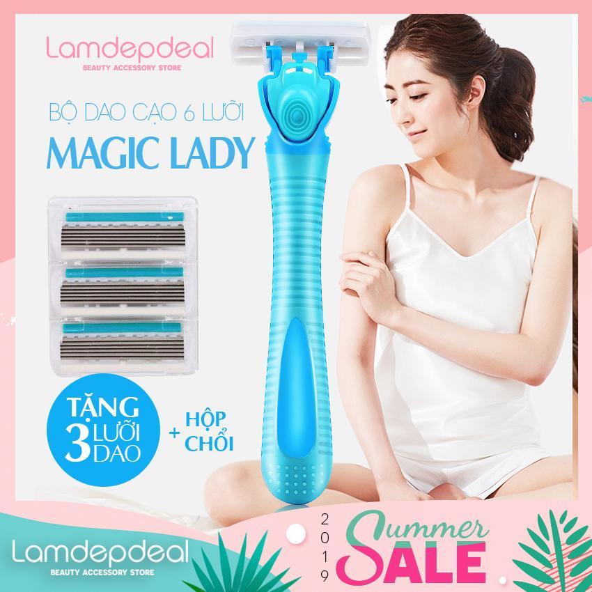 [FS 98K + MÃ GG 20K] Bộ dao cạo lông MAGIC LADY chuyên dụng cho phái nữ - Cạo sạch lông nách tay chân an toàn - Tặng 3 lưỡi dao hộp chổi - Lamdepdeal chính hãng