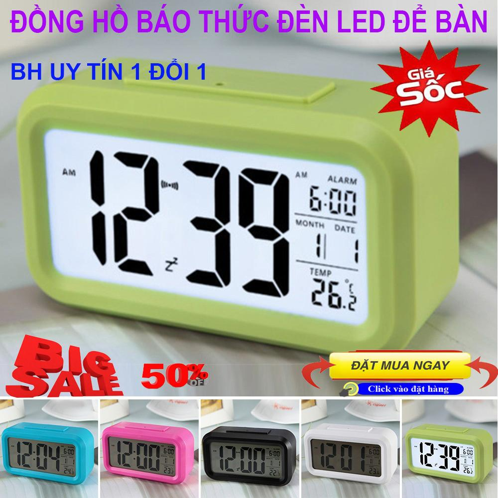Đồng hồ báo thức đẹp,mua máy đồng hồ treo tường - đồng hồ điện tử để bàn có đèn led, báo thức, Đồng hồ báo thức để bàn, Cảm Biến Ánh Sáng Tự Động, Không Gây Nhức Mỏi Mắt Ban Đêm, Thiết Kế Nhỏ Gọn, Bảo Hành Uy Tín b�
