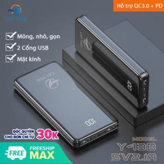 Pin sạc dự phòng mặt kính hiện đại có hiển thị lượng pin Y43B dung lượng 15000mAh 2 Cổng USB 2 cổng Input Type-C và Micro nhỏ gọn siêu mỏng thích hợp cho các bạn xài Android thumbnail