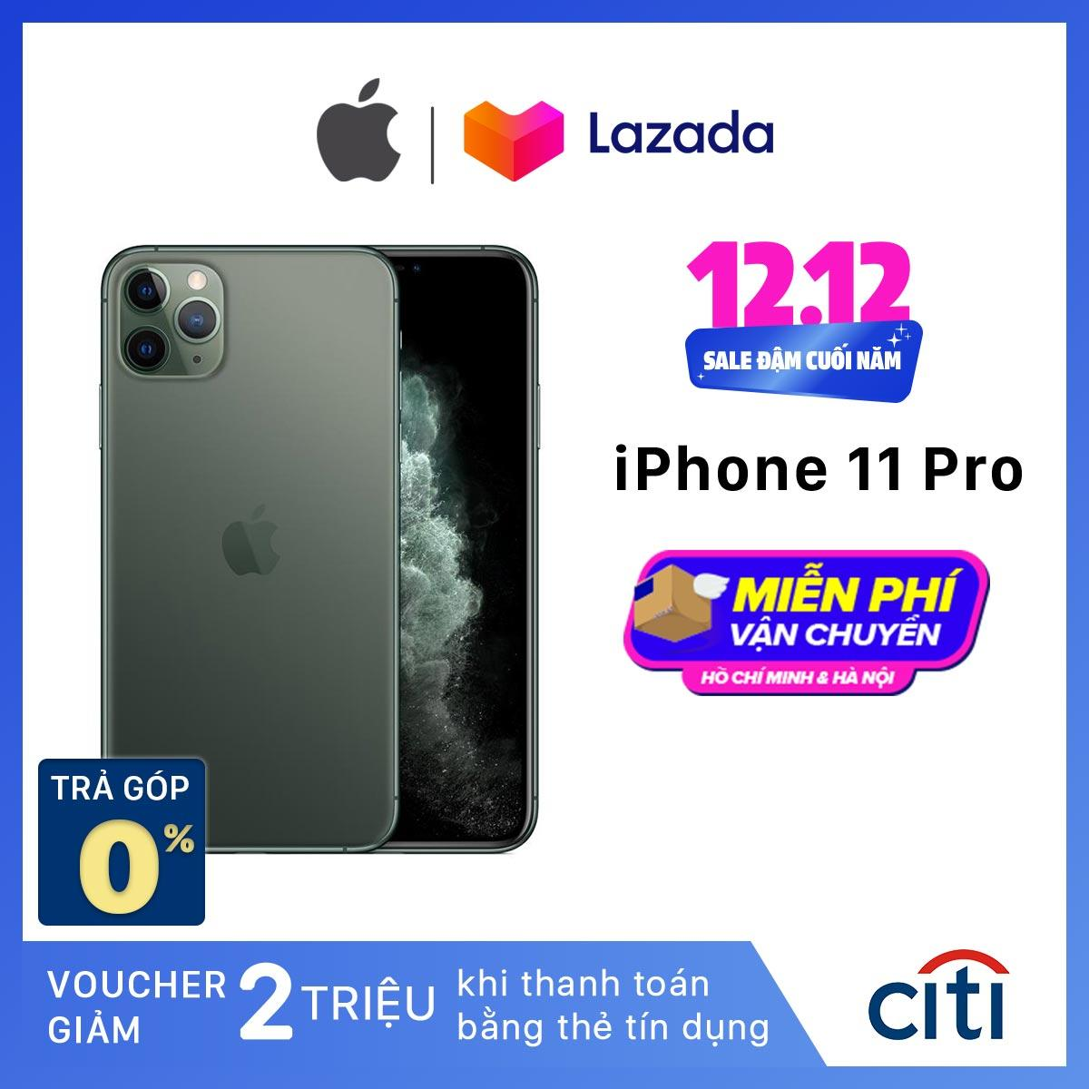 Điện Thoại Apple IPhone 11 Pro - Hàng Chính Hãng VN/A - Màn Hình Super Retina XDR 5.8inch, Face ID, Chống Nước, Chip A13, 3 Camera, Đi Kèm Sạc Nhanh 18W Duy Nhất Khuyến Mại Hôm Nay