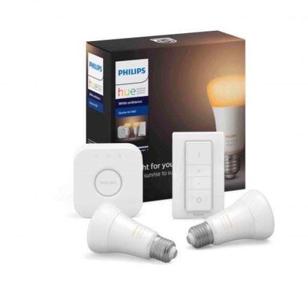 Bộ 2 Bóng Đèn thông minh Philips Hue White Ambiance Starter Kit E27 kèm Bridge và Dimmer