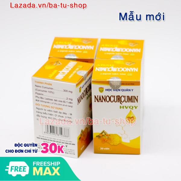 Liệu trình 1 tháng 4 hộp Nano Curcumin HVQY giảm đau dạ dày, tá tràng, giúp đẹp da