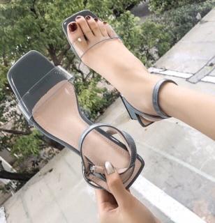 Dép sandal nữ quai ngang gót vuông 5 phân mạ kim loại thumbnail