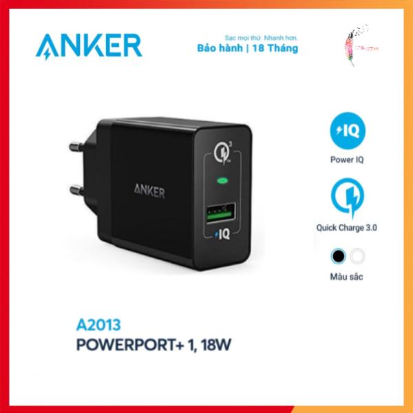 Sạc ANKER PowerPort+ 1 Cổng 18w Quick Charge 3.0 Có PowerIQ - Hàng Chính Hãng