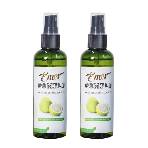 Bộ 2 chai xịt bưởi ngăn rụng tóc Pomelo dưỡng tóc từ gốc đến ngọn, giúp tóc ngày càng đen bóng, chắc khỏe và dày đẹp hơn 100ml x2