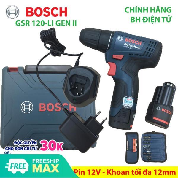 Máy khoan bắt vít dùng Pin 12V Bosch GSR 120-LI GEN II Phụ kiện Xuất xứ Malaysia Bảo hành 06 tháng - Mới sản xuất năm 2019