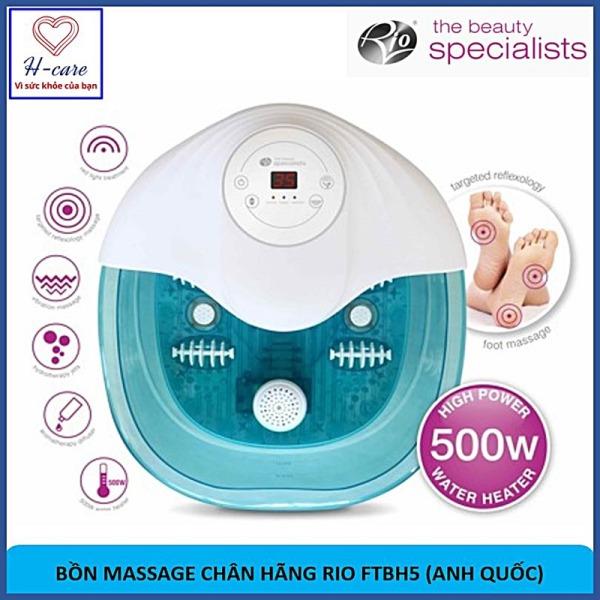 Bồn massage chân đa năng Rio (Anh Quốc) FTBH5 -  Làm nóng nước, có đèn hồng ngoại, ngâm mát xa chân, chăm sóc sức khỏe, thư giãn cơ thể + Bộ quà tặng 3 món (bóng gai tập tay, nước rửa tay kháng khuẩn, thảo dược ngâm chân) [TBYT H-Care]
