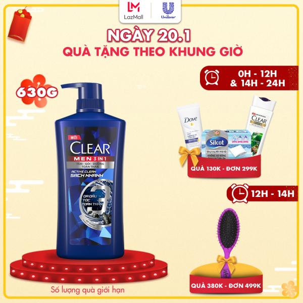 Dầu tắm gội CLEAR Men 3 trong 1 - ACTIVE CLEAN SẠCH SÂU - 630g nhập khẩu