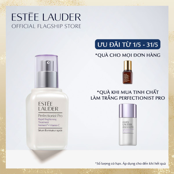 [ SET ƯU ĐÃI THÁNG 5] Tinh chất làm trắng hồng chuyên nghiệp Estee Lauder Perfectionist Pro Rapid Brightening Treatment with Ferment² + Vitamin C - Serum 30ml tặng Kem chống nắng Full Size Pro UV Fluid