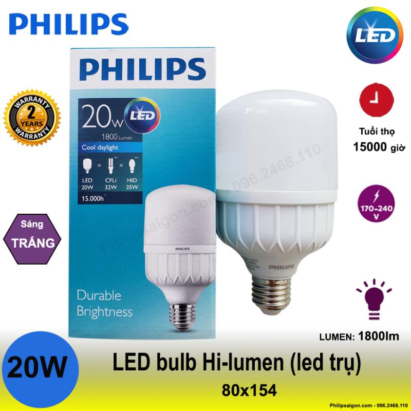 [Xả hàng] Bóng Led trụ Philips 20W / 30W / 40W / 50W có độ sáng cao, chất liệu nhựa cao cấp giúp hạn chế vỡ và chống con trùng, tiết kiệm đến 60% điện năng, hoạt động ở điện áp thay đổi 170V- 240V - Bảo hành 24 tháng.