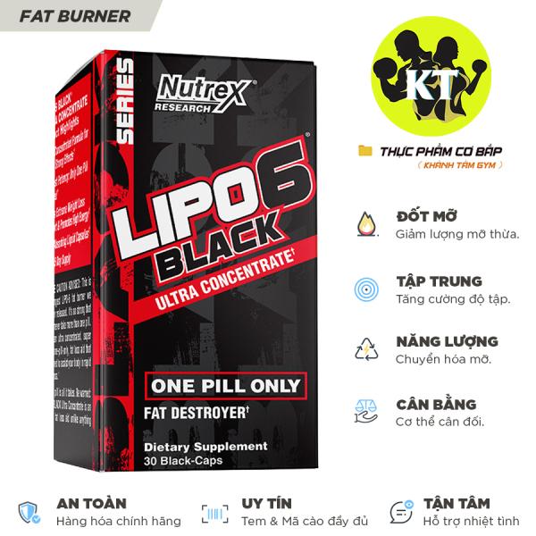 Đốt mỡ - Cắt nét - Chuyển hóa năng lượng Nutrex Lipo 6 Black