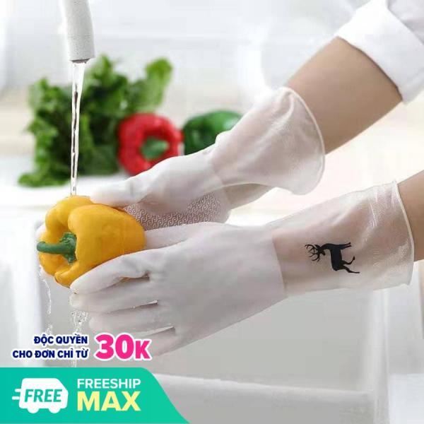 Giá bán Combo 2 Găng tay cao su con hươu rửa bát chén đa năng bao tay dài làm bếp vườn siêu dai bền chống hóa chất chịu nhiệt