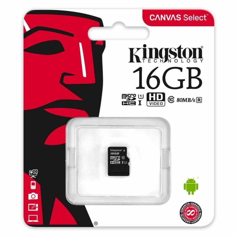 Thẻ Nhớ Kingston 16GB MicroSDHC Canvas Select 80R CL10 UHS-I Single Pack