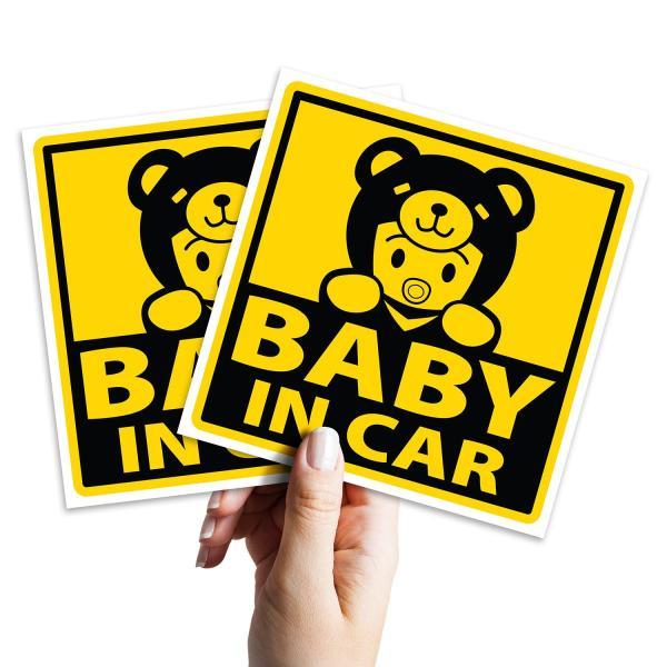 2 logo 10cm x 10cm sticker dán Baby In Car cho xe ô tô