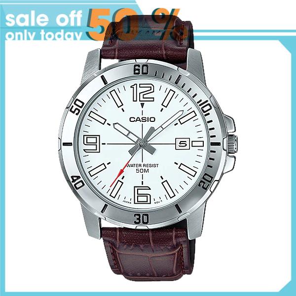 Đồng hồ nam Casio MTP-VD01L-7BVUDF Dây da nâu trẻ trung