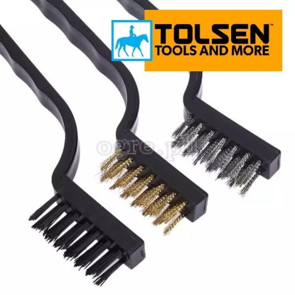 Bộ 3 Bàn Chải Thép Mềm 180mm 7inch Wire Brushes TOLSEN 32059