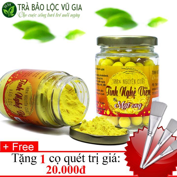 Combo Tinh Nghệ Viên Mật Ong̣ + Tinh Nghệ Đỏ Nguyên Chất VG (100gr/túi/ hũ) + Tặng Cọ Quét nhập khẩu