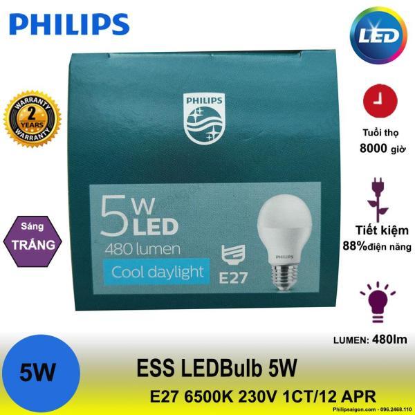 Bóng đèn Philips Ess Ledbulb 5W E27 6500K 230V A60 Ánh sáng( trắng), đui E27, công suất 5W - PhilipSaigon