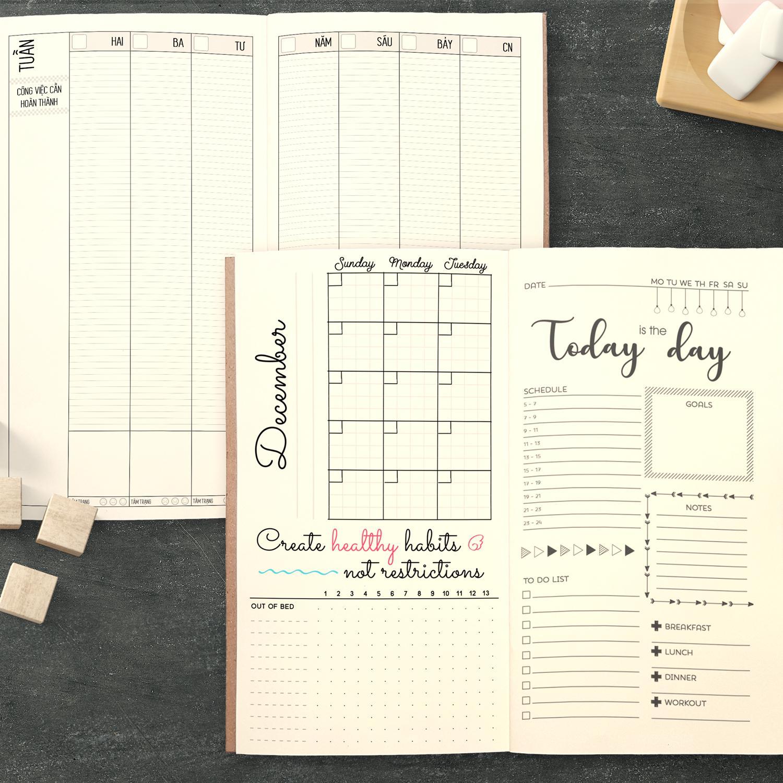 Mua Sổ tay planner MIX TỔNG HỢP Tháng + tuần + ngày Kế hoạch trọn đời - Lịch tháng / Kế hoạch Tuần / Nhắc việc ngày / Chấm