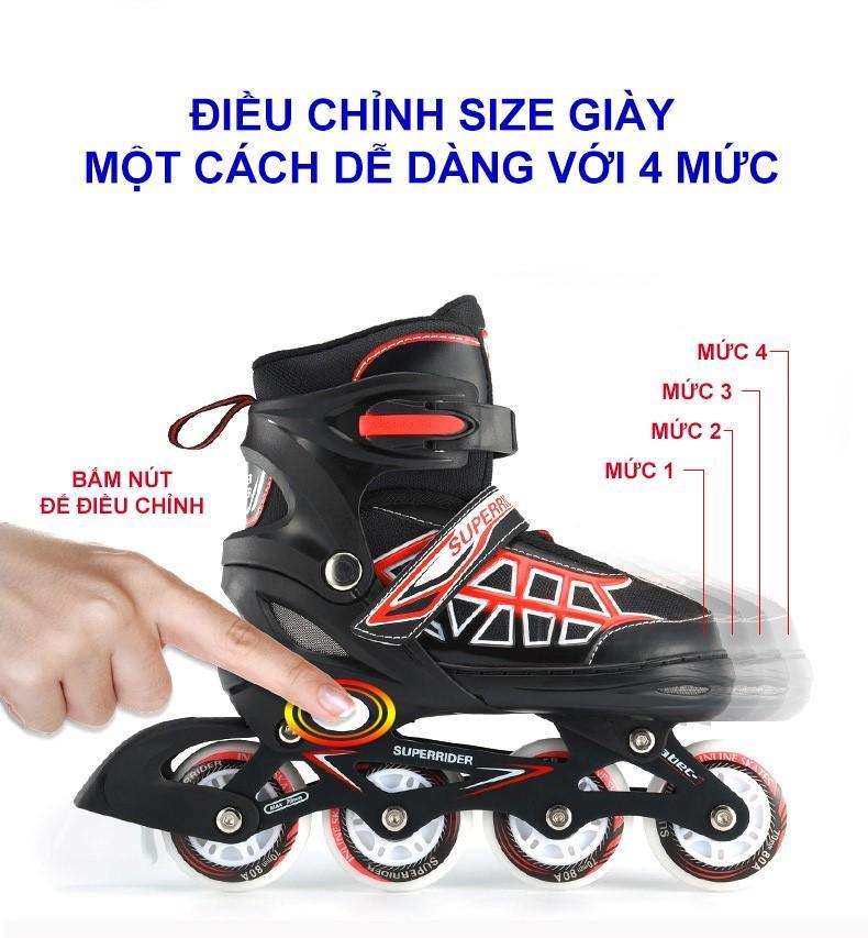 Mua Giầy Patin cao cấp Super-Rider (Tặng 6 chi tiết bảo vệ tay chân + 3 cốc trượt + 1 Bộ ốc vít thay thế)