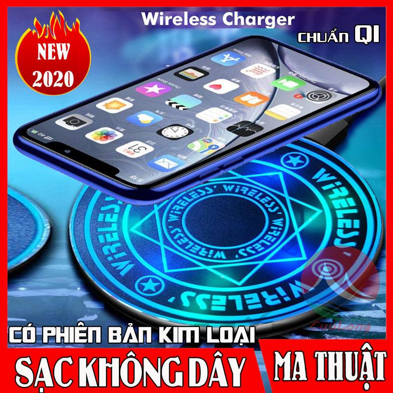 Giá Sạc Không Dây Ma Thuật KX9, Đế Sạc Đèn Led Phát Sáng Đổi Màu, Sạc Nhanh Chuẩn QI An Toàn, sạc không dây samsung, sạc không dây cho điện thoại iphone 8+/X/11/Pro X/XSmax OPPO, sạc không dây XIAOMI, đế sạc không dây Samsung Note 8/9 plus CuuLongStor