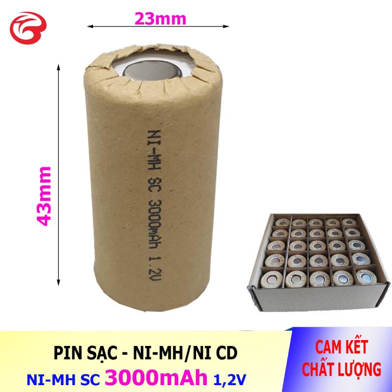Pin SC 3000mAh 1,2V, Pin Ni-Mh dành cho thiết bị (máy khoan, robot hút bụi) - Bán buôn (Loại pin ngắn 43mm)