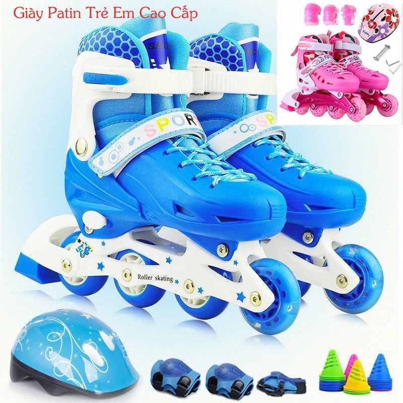 Giá bán Giày trượt Batin cho bé-Giày Patin trẻ em cao cấp tặng mũ và đồ bảo hộ (5 đến 14 tuổi), Dạy trượt patin - giúp bé thỏa sức vui chơi