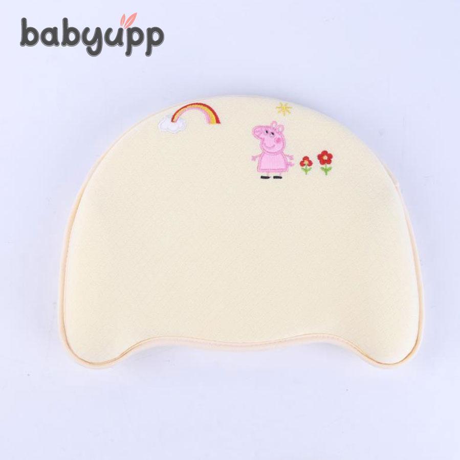Gối cao su non chống bẹp đầu Memory Foam Babyupp cho bé. Gối đa năng cao cấp chống méo đầu, bẹp đầu, móp đầu, nghẹo cổ, còm lưng cho trẻ sơ sinh và em bé - Gối cao su non BABYUPP Nhật Bản