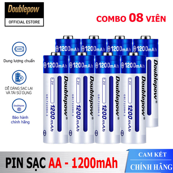 Bảng giá [Hộp 8 viên] Pin tiểu sạc AA 1200mAh Doublepow cao cấp (pin xanh) - Bảo hành chính hãng