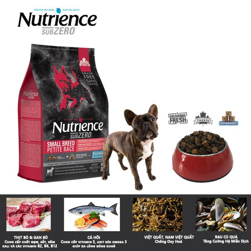 Thức ăn cho chó Nutrience Subzero thịt bò và cá hồi, nguyên liệu được cung cấp tươi sống, có men vi sinh hỗ trợ tiêu hóa, sử dụng nhiều loại đạm động vật