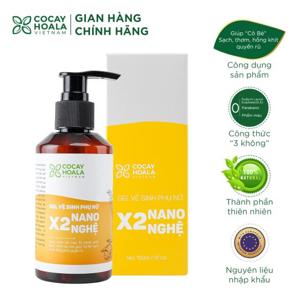 Gel Vệ Sinh Phụ Nữ Hồng Mịn Se Khít X2 Nano Nghệ Cocayhoala 150ml nhập khẩu