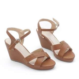 Giày Sandal Đế Xuồng 7cm Quai Chéo Màu Bò Pixie P207