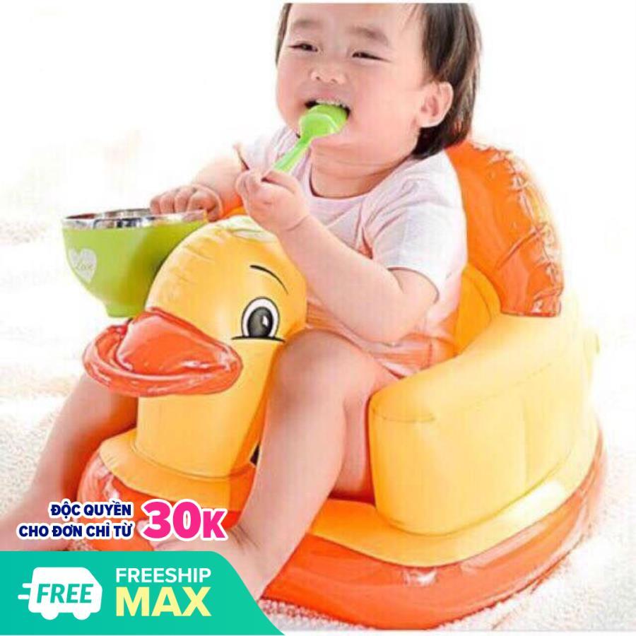 Ghế hơi tập ngồi cho bé hình vịt vàng chất liệu cao su cao cấp, mềm mại và an toàn giúp trẻ tập ngồi