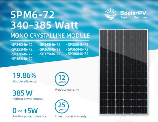 Tấm pin năng lượng mặt trời Spolar PV 370W (Mono)