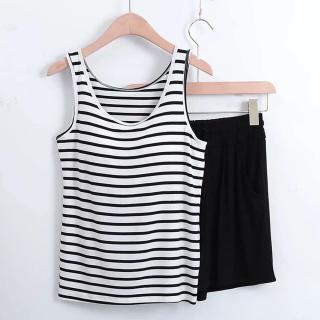 [HCM]đồ ngủ nữ đồ bộ áo thun ba lỗ sọc và quần short thời trang đi dạo phố mặc ở nhà chất liệu thoải mái thoáng mát thumbnail