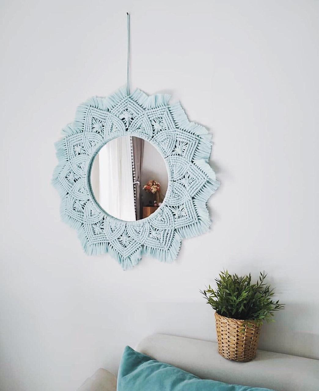 Gương tròn macrame treo tường trang trí đường kính 30cm giá rẻ