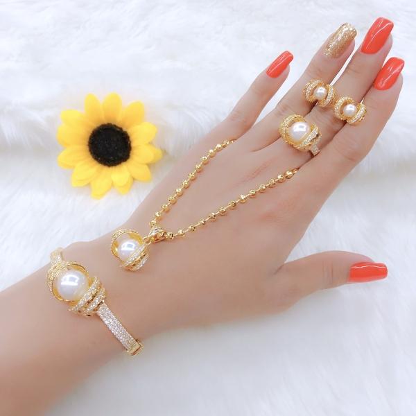[Siêu khuyến mãi] Bộ trang sức mạ vàng 18K cao cấp JK Silver, cam kết không đen , không bay màu, không gây dị ứng, thích hợp đi tiệc, làm quà tặng, dây chuyền nữ ,bông tai nữ,nhẫn nữ,lắc tay nữ U.bo15