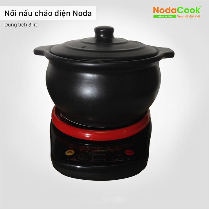Nồi đất kho cá điện bằng sứ chịu nhiệt NodaCook 3 lít màu đen