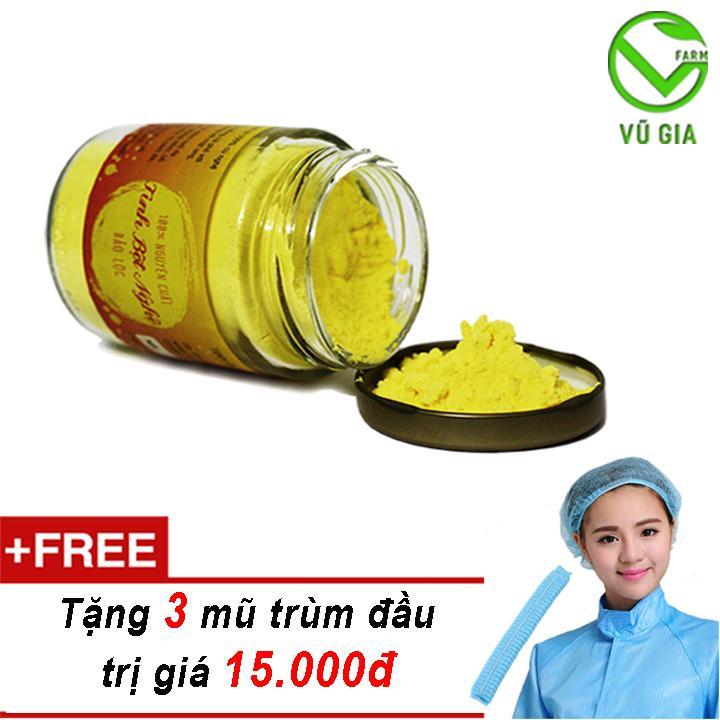 Tinh Bột Nghệ Nguyên Chất Bảo Lộc VG  (100gr/hũ) + Tặng 3 Mũ Trùm Đầu ( trị mụn trứng cá )