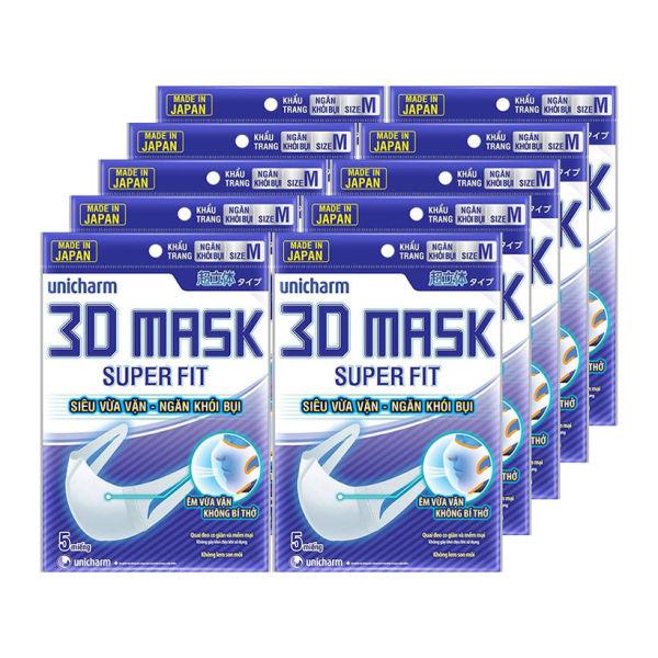 ( Bộ 10 gói ) Khẩu Trang 3D Mask Unicharm Super Fit ( MADE IN JAPAN )