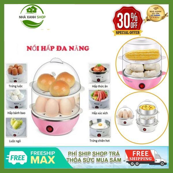Máy Hấp Bánh, Luộc Trứng, Hấp Thực Phẩm 2 Tầng Mini Egg, Siêu Tiện Dụng Cho Nhà Bếp, Bảo Hành 12 Tháng