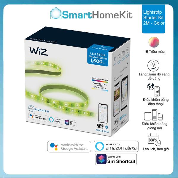 Đèn LED dây Philips WiZ Lightstrip Starter Kit 2m Full Color 16 triệu màu - Kết nối WiFi - Hàng Phân Phối Chính Hãng