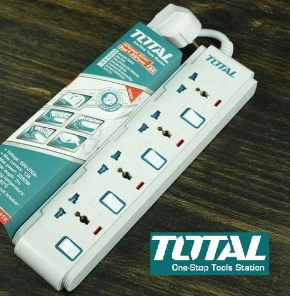 Ổ cấm điện 3 chấu 4 lổ đa năng có đèn báo 3 mét 3250W 250V 13A Total THES03041V giá rẻ