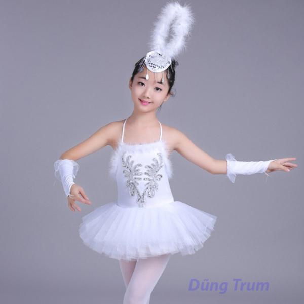 [HOT SALE] Váy múa bale lông trắng siêu xinh cho bé yêu