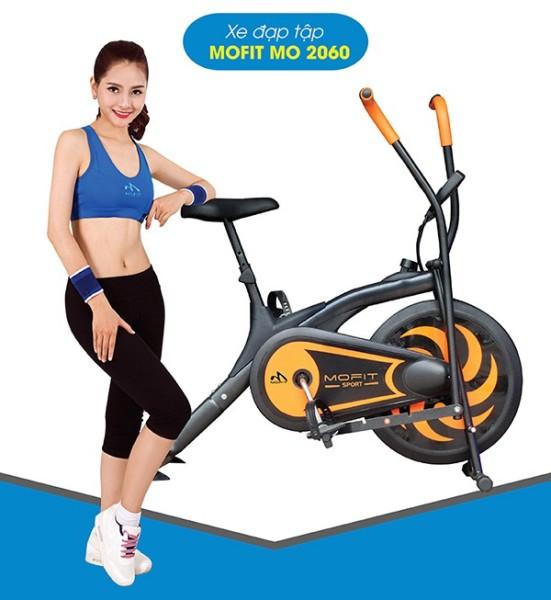 Xe đạp tập thể dục tại nhà Mofit 2060 đa năng giá rẻ, tặng kèm bó gối và con lăn tập bụng 2 bánh AB Wheel