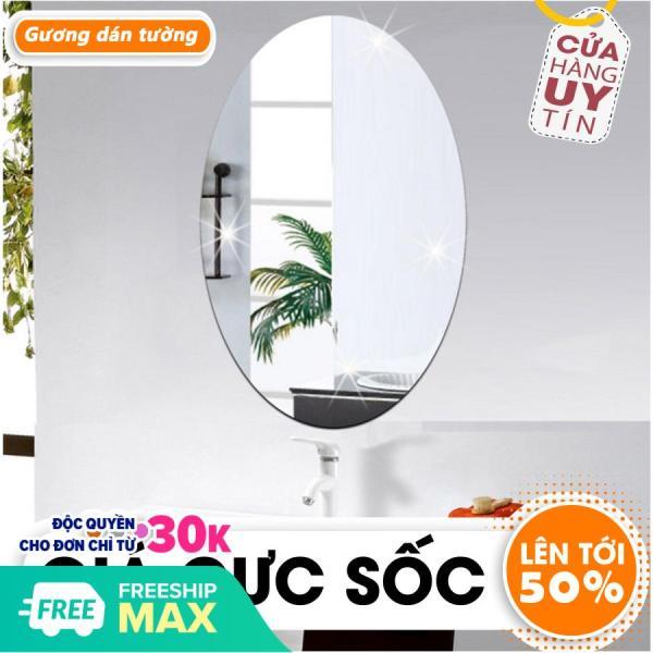 Gương dán tường, gương dán tường hình bầu dục, kích thước 42x27cm. gương nhà tắm giá rẻ