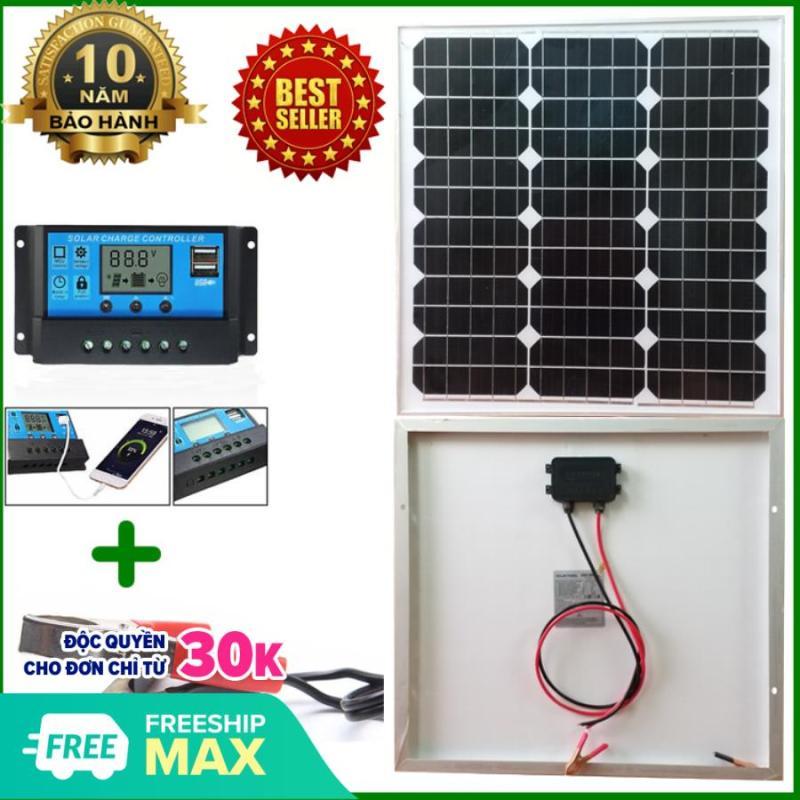 Tấm Pin năng lượng mặt trời đơn tinh thể Mono 35W tặng điều khiển sạc PWM (sạc cho hệ acquy 12V hoặc 24V) + kẹp bình acquy